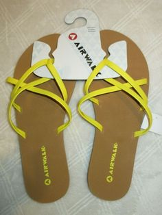 b1790988f Airwalk Strappy Flip Flop Sandals Bright Yellow Women Size 9  fashion   clothing  shoes