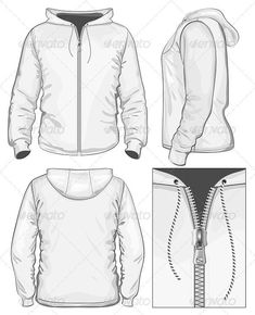 Men's Hooded Sweatshirt with Zipper Vector. Men's hooded sweatshirt with zipper (back, front and side view) Created: GraphicsFilesIncluded: JPGImage Layered: Yes MinimumAdobeCSVersion: CS Tags: activewear Fashion Illustration Template, Illustration Mode, Fashion Design Template, Fashion Design Sketches, Flat Drawings, Flat Sketches, Fashion Vector, Clothing Sketches, Drawing Clothes