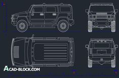 ► Hummer H2 CAD DWG - Free in AutoCAD Blocks