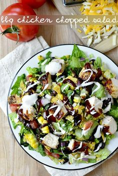 BBQ Chicken Chopped Salad is a party on a plate! This filling entree salad is full of bold, BBQ flavors. | iowagirleats.com