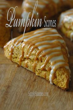 Pumpkin scones with pumpkin spice icing - Thanksgiving breakfast idea I will be trying this year Pumpkin Scones, Pumpkin Dessert, Pumpkin Spice, Pumpkin Pumpkin, Pumpkin Breakfast, Fall Breakfast, Breakfast Dishes, Breakfast Recipes, Pumpkin Recipes