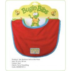 Bibs Velcro Fastening Plain:- Double layer of absorbent terry toweling and generous sizing. Ideal for wrangling your toddler and the Medium bibs have a Velcro adjustable neck, perfect for the young ones.