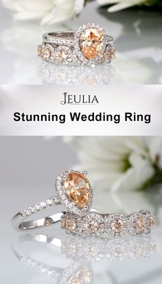 A frame of created white sapphires surrounds a pear cut center created champagne sapphire in brilliance while round white sapphires decorate the band of the engagement ring for her. The exquisite wedding band features nine round cut champagne sapphires encircled by white sapphires in halo-style. #JeuliaJewelry