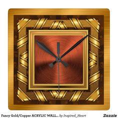 Fancy Gold/Copper ACRYLIC WALL CLOCK