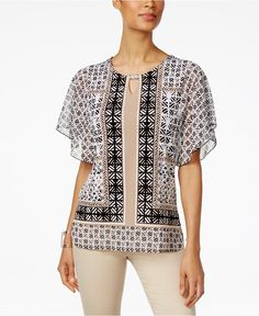 JM Collection Printed Butterfly-Sleeve Top, Only at Macy's - Tops - Women - Macy's