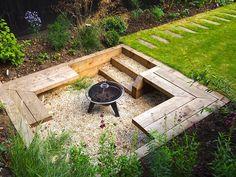 Backyard Patio Designs, Backyard Landscaping, Back Gardens, Outdoor Gardens, Landscape Architecture, Landscape Design, Back Garden Design, Fire Pit Backyard, Garden Seating