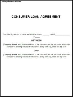 Printable Sample Loan Contract Template Form  Loan Form Template
