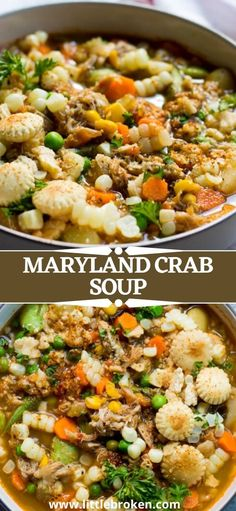 Farmers market mix of hearty vegetables, smell of Old Bay seasoning, and lumps of fresh crab meat. This bowl of Maryland crab soup practically cooks itself and is a must in the summertime! Veggie Soup Recipes, Easy Main Dish Recipes, Quick Dinner Recipes, Maryland Crab Soup, Market Mix, Canning Whole Tomatoes, Crab Meat, Pinterest Recipes, Chowders