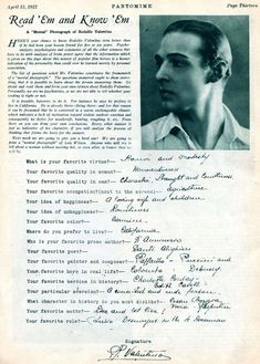 Pantomime Magazine 15 April 1922 - Psychology Questions answered by Rudolph Valentino Silent Screen Stars, Silent Film Stars, Vintage Hollywood, Classic Hollywood, Psychology Questions, Silent Love, Rudolph Valentino, Movie Magazine, Pantomime