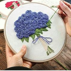 Floral Embroidery Kit For Beginner, Modern Embroidery Kit, Hand Embroidery Kit, Embroidery kit wedding flowers Embroidery Pattern Diy Embroidery Kit, Hardanger Embroidery, Learn Embroidery, Hand Embroidery Stitches, Modern Embroidery, Embroidery For Beginners, Silk Ribbon Embroidery, Fabric Ribbon, Hand Embroidery Designs