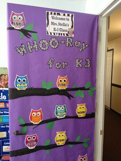 Owl themed classroom door