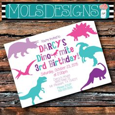 Any Color DINOSAUR BIRTHDAY Silhouette Rex Baby Girl Dino First 1st 2 3rd 4th 5th 6 Chevron Pink Purple Teal Shower Fossil Party Invitation