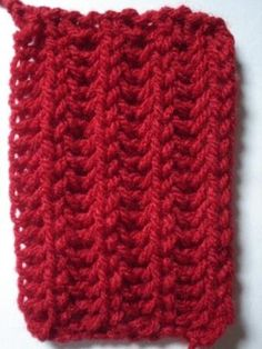 Red Crochet Coffee Cozy Sleeve by on Etsy Knitting Stiches, Crochet Stitches, Knitting Patterns, Knit Crochet, Crochet Coffee Cozy, How To Purl Knit, Crochet Slippers, Stitch Patterns, Knitted Hats