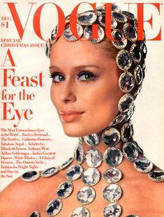 Vogue covers from Christmas past. December Vogue 1968. Lauren Hutton.