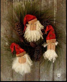 Primitive( Pattern) Prim Santa Head Ornies /Bowl fillers Very PrimTo Make!  #OHB #NaivePrimitive