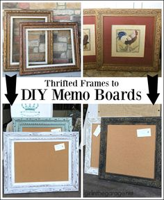 Thrifted Art to Stylish DIY Memo Boards - Girl in the Garage® : Thrifted art upcycled to DIY memo boards - Love this idea! By Girl in the Garage Thrifted frames and yard sale art upcycled to DIY memo boards - easy project! Cute Picture Frames, Picture Frame Crafts, Painting Picture Frames, Memo Boards, Art Boards, Cadre Photo Diy, Thrift Store Crafts, Thrift Stores, Diy Frame