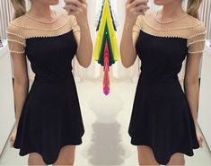 Design Pearl round neck black dress DX91210EW