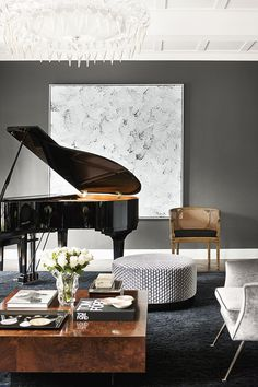 """The formal sitting-cum-music room in the home designed by [David Hicks](http://www.davidhicks.com/