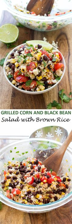 Grilled Corn and Black Bean Salad with Rice. A healthy summer side dish that takes less than 30 minutes to make! | chefsavvy.com #recipe #salad #corn #healthy