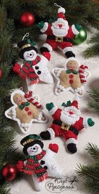 Handmade Felt Ornaments - Stuffed Star Santa, Snowman and Gingerbreadman Family Christmas Ornaments, Felt Christmas Decorations, Christmas Sewing, Christmas Themes, Handmade Christmas, Christmas Crafts, Christmas Stars, Christmas Nativity, Christmas Printables