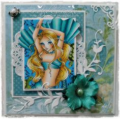 I love the colours of this card (image Sweet Pea Stamps: Green Turtle)