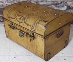 Superb Antique Victorian Vintage Metal Dress Box Steamer Chest Trunk
