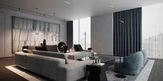 Residence in Moscow on Behance Adobe Photoshop, Autodesk 3ds Max, Concrete Wall, Interior Design Studio, Interiores Design, Moscow, Interior Architecture, Behance, Couch