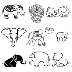 Mostrar tronco los elefantes tatuaje temporal Pack juego | Etsy