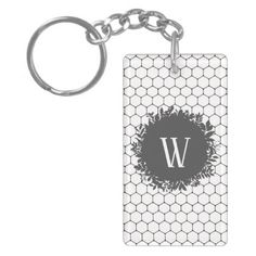 Black and White Beehive Pattern with Monogram Keychain - black gifts unique cool diy customize personalize