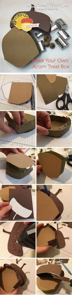How to make your own acorn treat box - a LovenStamps exlusive, with Acorny Thank You by Stampin' Up