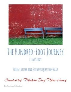 """This document includes a parent note about watching the film, """"The Hundred-Foot Journey"""" and also a student notes page with guided questions that can be answered during or after the film has been watched.The student questions sheet can also be used as an at home assignment during breaks."""