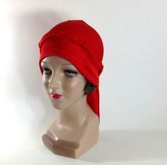 Red Vintage Flapper Bathing Cap Swim Cap 1980s Pinup by Archivia, $26.95