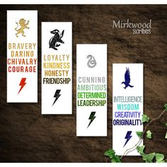 Hogwarts House Virtues Printable Bookmarks (€6,50) ❤ liked on Polyvore featuring home, home decor, office accessories, printable bookmarks, printable book marks and ribbon bookmarks