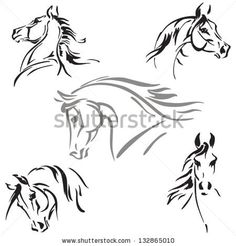 Horse's head studies Studies of horse's heads based on brush drawings.