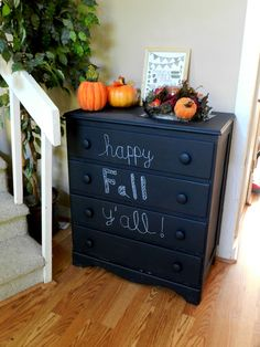 Paint a chest of drawers with chalkboard paint, and write a fun message on the drawers, or label each drawer with what's inside #storage #organization | From Joy in the Everyday blog