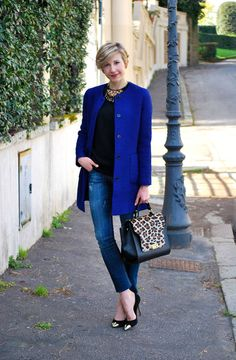 LoLus Fashion: Zara Blue Cobalt Collarless Coat + Jeans + Lepord