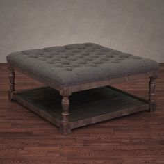 Creston Smoke Linen Tufted Ottoman  Dimensions: 17.5 inches high x 36.5 inches wide x 36.5 inches deep This one is bigger