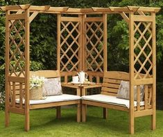 Corner Pergola With Hammock - Wooden Pergola Terrace - - Pergola Designs Park - Pergola Garten Diy Pergola, Corner Pergola, Pergola With Roof, Diy Patio, Pergola Kits, Backyard Patio, Backyard Landscaping, Cheap Pergola, Covered Pergola
