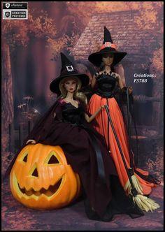 """Robes Barbie """" Sorcière de Halloween N°15 + N°16 """" Vêtements pour poupée Barbie Fashion Royalty Silkstone f3788"""