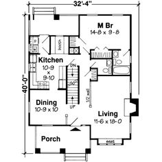 Craftsman Style House Plan - 4 Beds 2.5 Baths 1595 Sq/Ft Plan #312-138 Floor Plan - Main Floor Plan - Houseplans.com