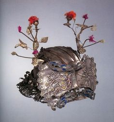 China   Young prince's crown with butterfly wing motif from the Lao Han (Old Han) people of Guizhou Province   Silk and silver   ca. Early Qing Dynasty