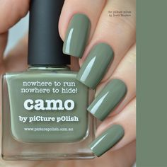 nowhere to run, nowhere to hide!…CAMOnail polish est. 2009 Colour/Texture:Khaki green creme + dries smooth on the nail Application: Shake gently before use and apply two coats for opaque coverage Volume:11ml 0.37 fl.oz +5 free + vegan + never tested on animals Care Instructions:Keep away from heat, flame & children, store in a cool anddry... Read more »