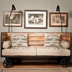 60 Stunning DIY Projects Pallet Sofa Design Ideas 14 – Home Design Industrial Design Furniture, Vintage Industrial Furniture, Industrial Interiors, Vintage Home Decor, Rustic Furniture, Furniture Decor, Furniture Design, Industrial Style, Industrial Lamps