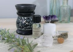 Oil Burner and Essential Oil. Home Gift. Essential Oil Burner, Essential Oil Set, T Lights, Oil Burners, Black Oil, Scented Oils, Lavender Blue, Crystal Collection, Soapstone