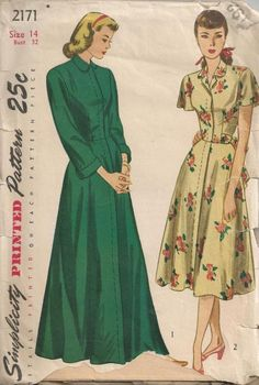 1947 One Piece Housecoat and House Dress 1940s Fashion, Vintage Fashion, Classic Fashion, Vintage Style, Historical Costume, Historical Clothing, 1920s Evening Dress, Vintage Underwear, Vintage Dress Patterns