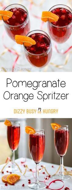 Pomegranate Orange Spritzer   DizzyBusyandHungry.com - Easy, delicious, fun, and festive!