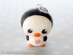 Kawaii penguin polymer clay charm. $4.50, via Etsy.