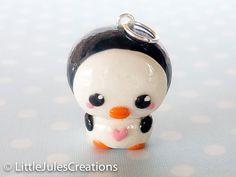 Kawaii penguin polymer clay charm. $4.50, via Etsy.
