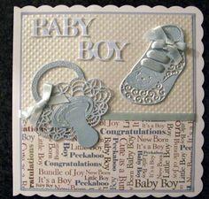 Made by Sandra Fairclough #tatteredlace #babyboycard