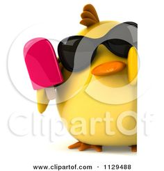 Clipart Of A 3d Chick With Sunglasses And Popsicle Holding A Sign 3 - Royalty Free CGI Illustration by Julos